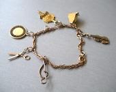12K Gold Filled - 1960s Charm Bracelet