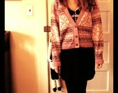 SALE Vintage Pink Cardigan Sweater / 80s Fair Isle / Floral / Heart Buttons/ USA