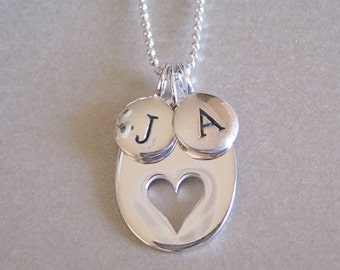 2 Initial & Heart Charm Necklace - Personalized Necklace - Hand Stamped