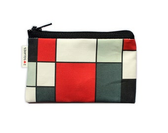 RED BLACK GREY art squares printed Wallet coin purse for women for her gift idea