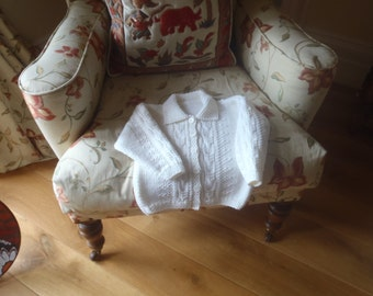 """White Merino Aran weight Collared Cardigan Size  22""""  Age 1 to 2 Sweater Hand Knitted in Scotland"""