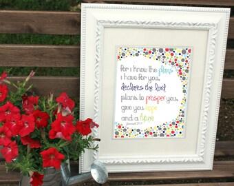 Digital Print - Scripture Bible Verse - Jeremiah 29:11 Colorful Dots Art Printable