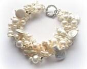 Pearl Bracelet Bridal, wedding jewelry for brides, pearl jewelry, wedding jewlery, pearl bracelet, twisted bracelet, white pearl bracelet