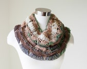 Crochet Cowl / Earth color cowl / Infinity Scarf / Circle scarf /