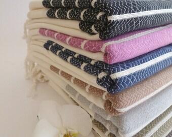 Christmas gift , Fast shipment, set of 4 Turkish Towels, Gift Set, Bath & Body , Pink , peshtemal , lilac, navy, baby blue, red