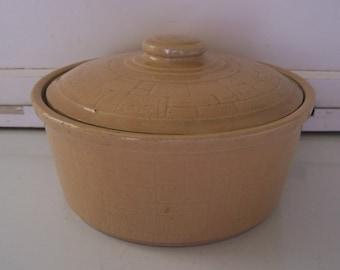 Vintage Stoneware Casserole Dish  USA