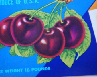 Vintage Crate Art - DUMONT - California Bing Cherries Shipping label - 1960's - Industrial Art