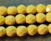 6mm Czech Glass Faceted Beads in Opaque Yellow -7 inch strand
