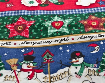 Holiday Fabric, Sheep, Snowmen and other decorations, three pieces