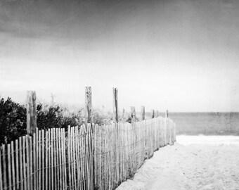 "Black and White Photography - beach dune print ocean sea shore coastal grey gray wall art photo - 11x14, 8x10 Photograph, ""Down to the Sea"""