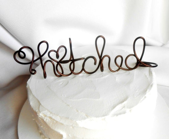 Etsy Wedding Cake Decorations : Rustic Decorations Cake Topper Hitched Custom by ...