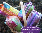 Ditty Bag diy SEWING PATTERN  quilted cosmetic bag makeup case tutorial
