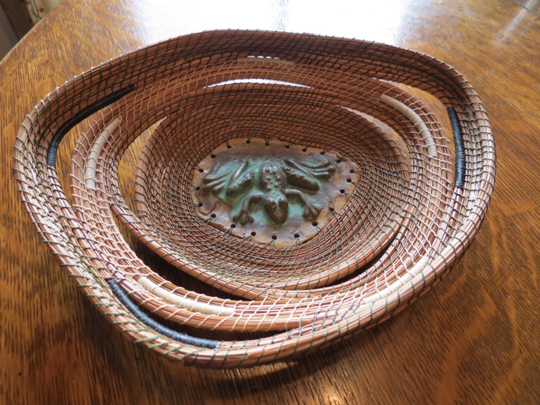 Handmade Pine Needle Baskets : Pine needle basket with ceramic centerpiece by