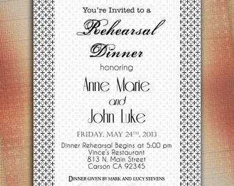 Black and White Rehearsal Dinner Invitation, Rehearsal Dinner Announcement, Customized Wedding Announcement - Digital File You Print