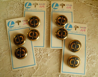 8 Vintage Metal Buttons Made In Western Germany Gold and Black Sewing Buttons Sewing Notions Vintage Sewing Supplies