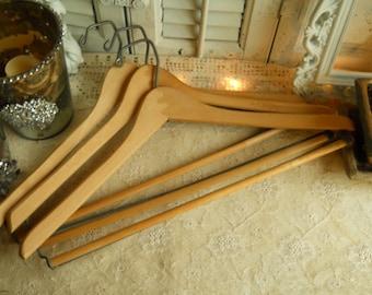 Set of 3 Vintage Wood and Metal Coat Hangers Batts Hangers Vintage Housewares Vintage Wood Suit and Coat Hangers
