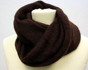 Dark Chocolate Kid-Mohair Cowl - Fluffy, Soft & Warm