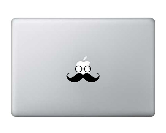 Mustache and Glasses Sticker Decal Laptop Decal iPad