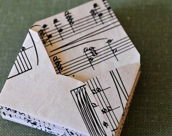 Tiny envelopes, mini envelopes, sheet music,ephemera