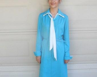 60s MOD Dress Loungewear Set . Pantdress Set . TURQUOISE 3 Piece Hostess Set S-M