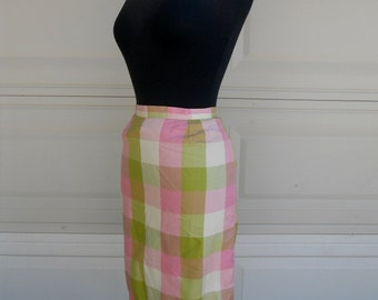 "SALE 60s Checked WIGGLE Skirt .Summer . Pink and Green Pencil Skirt 24"" Waist"