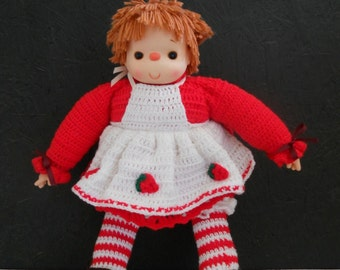 "Vintage Strawberry Shortcake Doll . Crocheted Outfit . Extra Large 25"" Tall . Unused"