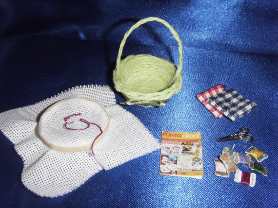 """SET """"embroidery"""" - miniature 1:12 scale for dollhouse"""
