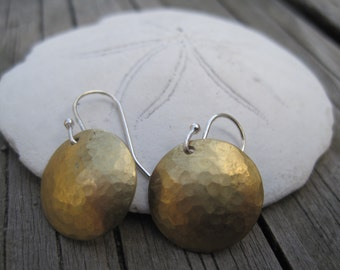 Brass Hammered Metal Dome Dangle Circle Earrings with Sterling Silver Hooks