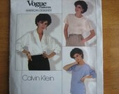 Vogue Pattern 1128 American Designer CALVIN KLEIN Misses' Top And Blouse 1980's  Uncut