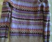 Traditional vintage fairisle sweater fawn heather black eau de nil wool mix S