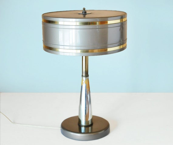 Melrose Mid Century Brass White Shade Floor Lamp: Mid Century Modern Desk Lamp Metal Drum Shade By