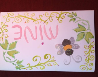 Bee Mine-- Hand Painted Valentine's Day Card-- Sale Price 50% Off