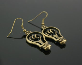 Antique bronze lamp earrings