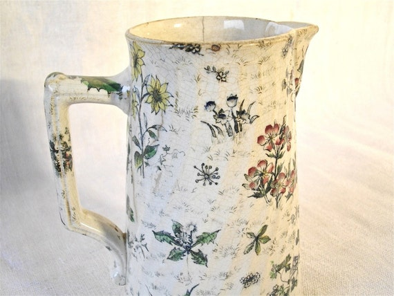 Antique french milk jug with flowers - 1800