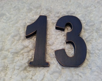 Decorative Freestanding Wedding Table Numbers - Ariel Font - 15cm high - Number 13