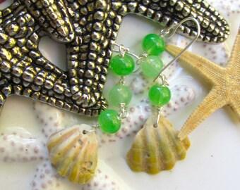 Oma'oma'o (Green) Sea Dreams Shell Earrings