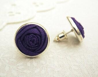 Purple Rose Bud Earrings - Fabric Flower Silver Earrings in Fandango - Flower Stud Earrings