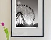 "Ferris Wheel Fine Art Modern Photography Black and White - Europe fair circus dusk sky - 15""x20"" (40x50cm) - (Can also be custom sized)"