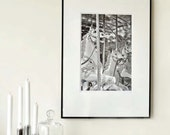 """Large Fine Art Graphic Modern Photography Black & White - Carousel - Europe fair circus - 30cmx45cm /12""""x18"""" Size (Can also be custom size)"""