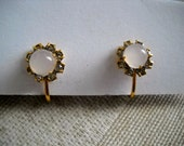 Vintage Rhinestone and Milky Pink Stone earrings