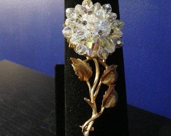 Crystal Goldtone Flower Pin