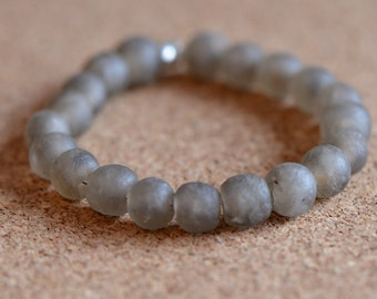 Recycled Glass Bracelet, Rustic Handmade African Glass Beads, Dove Gray,  Magnetic Clasp