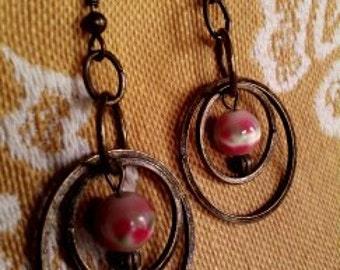 Artsy Embellished Brass Hoop Dangle Earrings