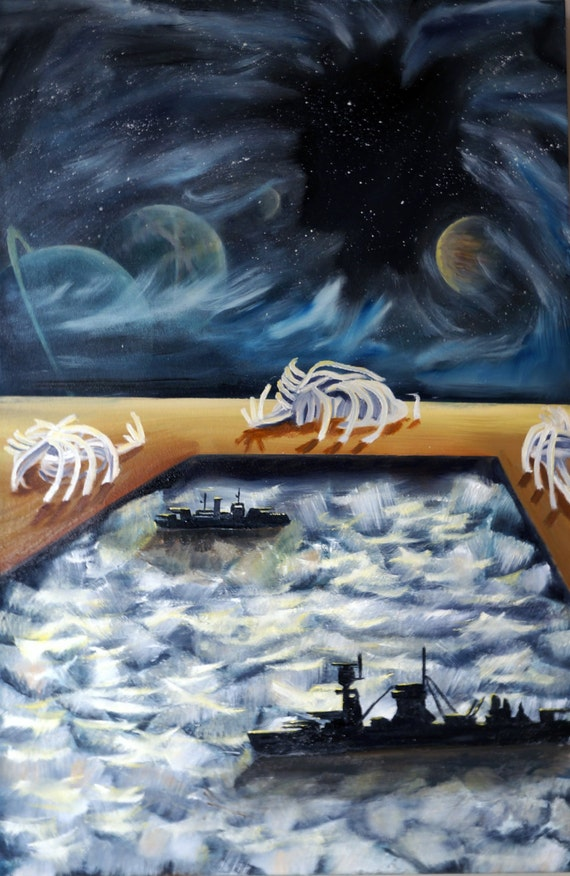 Original Surrealist Space Painting -DREAM 2- Oil On Canvas RESERVED