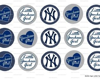 "15 Little Yankees Girl Images Digital Download for 1"" Bottle Caps (4x6)"
