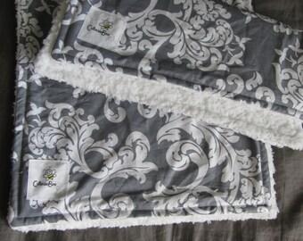 Gray & White Damask Burp Cloth Set (2)