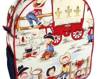 Toddler Backpack, Preschool Backpack, Boys Backpack, Girls Backpack, Cowboy Backpack, Cowgirl Backpack, Lil Cowpokes Fabric Backpack
