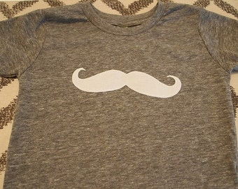 Children's mustache tee heather grey tee with mustache applique organic blend infant  toddler youth sizes 3/6 month and up