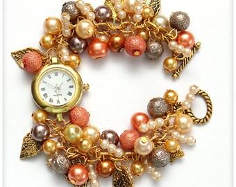 Chunky Beaded Orange and Wellow Wrist watch