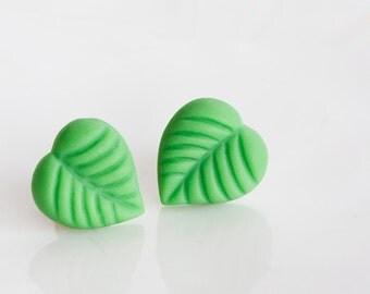 Lime Green Leaf Ear Studs Leaf Stud Earrings Fresh Spring Green Earrings Nature Garden Jewelry - E253